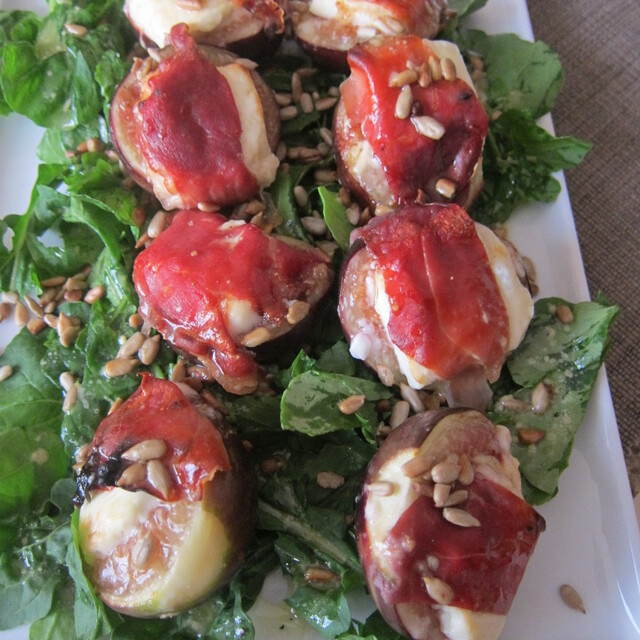 Stuffed Figs Wrapped in Prosciutto with Goat Cheese and Toasted Sunflower Seeds