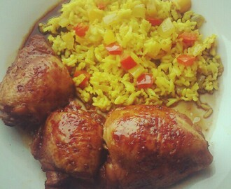 Chicken Adobo & Yellow Pepper Rice