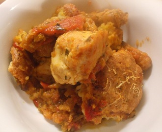 Definitely not cobblers and great as a Bonfire Night supper! Chicken cobbler with sweet peppers and tomatoes