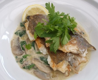 Especially for me - Sea bass with Wilted Spinach and Mushrooms