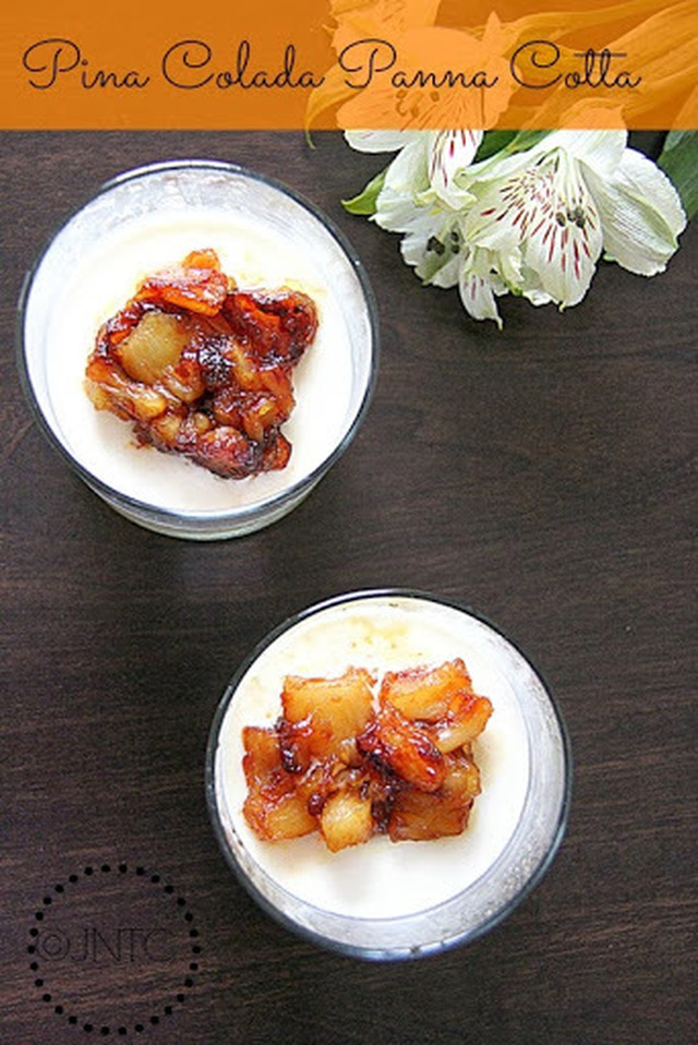 Pina Colada Panna Cotta with Pineapple jelly and Caramelized Pineapples