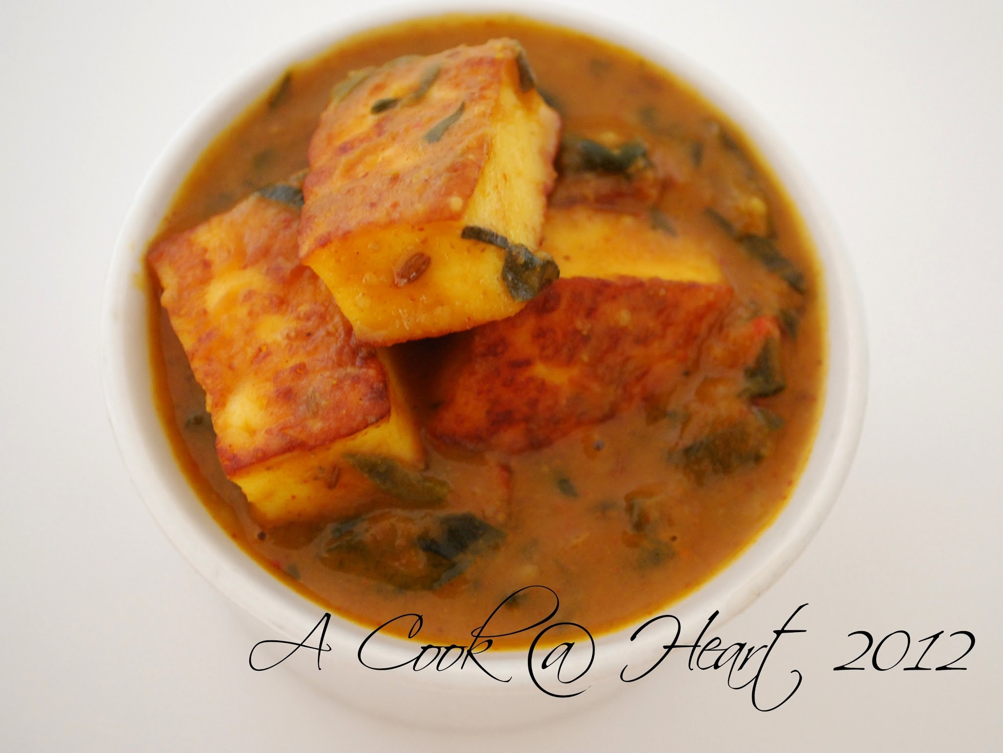 Kutchi Paneer (Nutty Cheese in a Spinach-Chickpea Flour Sauce)- Jain Style