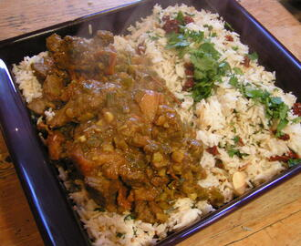 Saved from disaster! Lamb curry with coconut rice