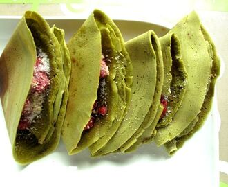Crispy Matcha Apam Balik (Crispy Green Tea Crêpes) with Raspberry and Crushed Nuts