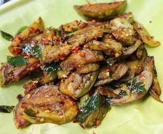 Brinjal Roast / Brinjal Fry with Garlic, Cumin & Dry Chillies