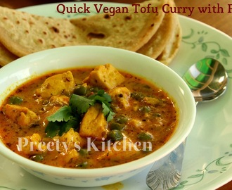 Quick Tofu Curry with Peas / Matar Tofu Ki Sabzi (Pressure Cooker Recipe) / Vegan