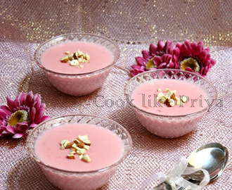 Gulkand Phirni | Rose flavored Phirni | Rose petals Rice Pudding