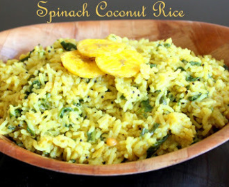 Spinach Coconut Rice ~ One pot variety rice/ Lunch-box meal