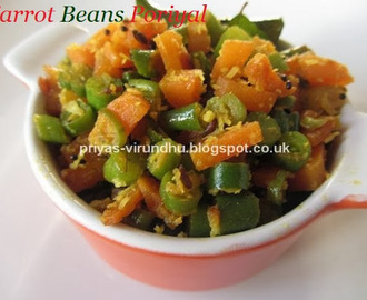 Carrot Beans Poriyal/Carrot Beans Stir Fry [With Coconut]