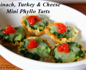 Holiday Appetizers – Bite Sized Spinach, Turkey & Cheese Mini Phyllo Tarts
