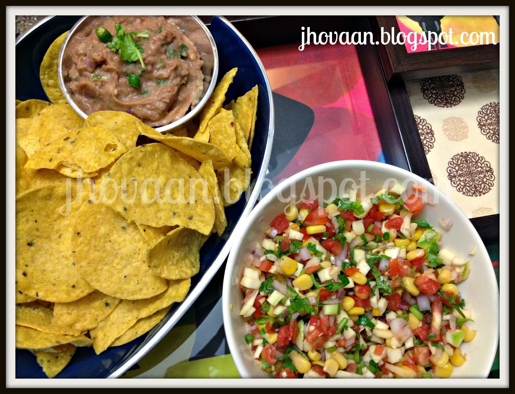 Recipe : Green Mango Salsa & Bean Dip for Nachos (Vegan)