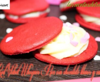 Red Velvet Whoopies Pies con crema de chocolate blanco y canela