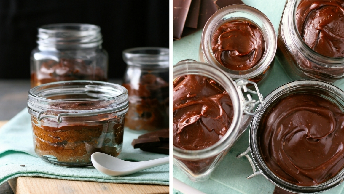 Date caramel and chocolate pots
