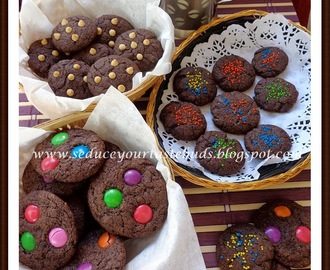Eggless and Butterless Chocolate Cookies with M&M's, Funfetti and Chocolate Chips