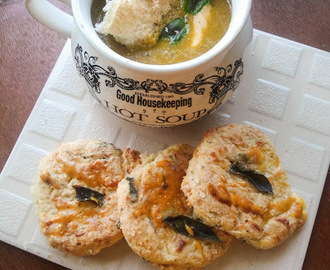 Winter Veggie soup accompanied with Potato & Cheese biscuits
