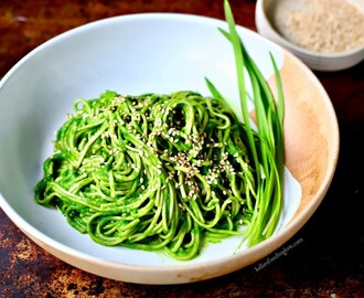 Wild Garlic Miso Sauce with Soba Noodles {vegan/gluten-free recipe}