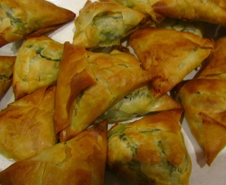 Spanakopita, Spinach, mint and feta pastries