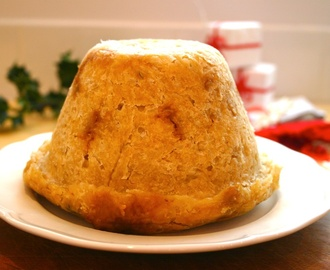 caramelised onion and mushroom layered suet pudding