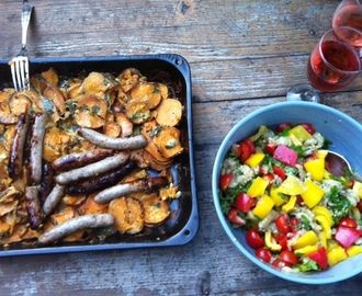 Sweet potato gratin and burnt aubergine salad from Ottolenghi