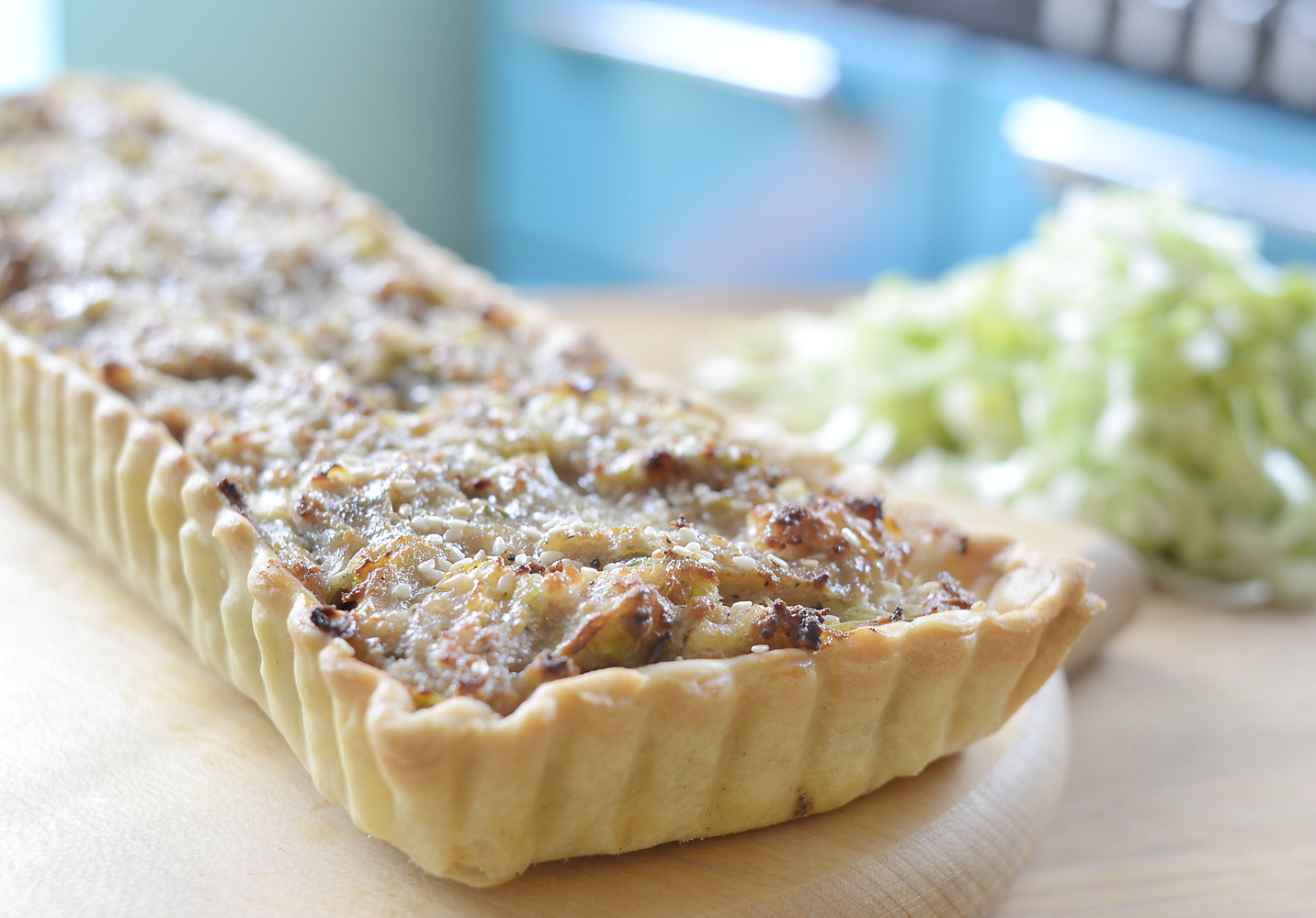 SAUSAGE & LEEK TART WITH HONEY GLAZE
