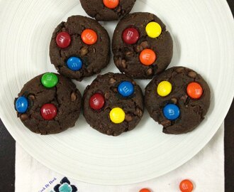 Inside-Out Double Chocolate Chip M&M Cookies ~ Whole Wheat & Eggfree!
