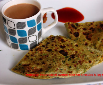 Multigrain Pocket Methi Parathas with Soy Granules & Egg Stuffing
