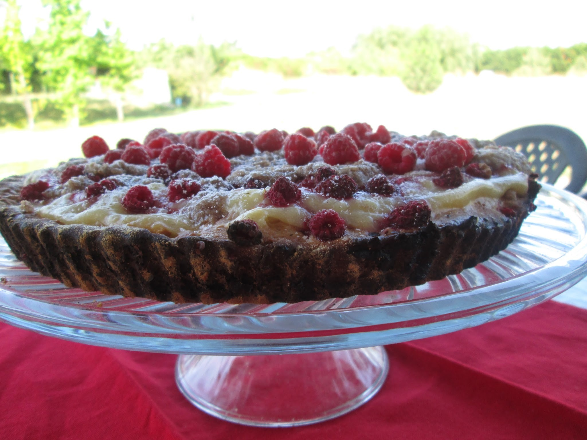 Raspberries kuchen with vanilla cream and streusel
