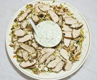 Chicken couscous salads with Tzatziki sauce