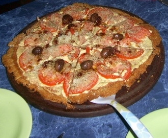 Pizza de cebada, con queso de choclo