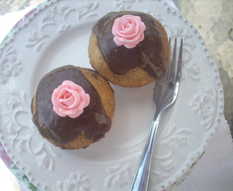 Vanilla cupcakes with chocolate frosting and a Creative Tuesday Entry