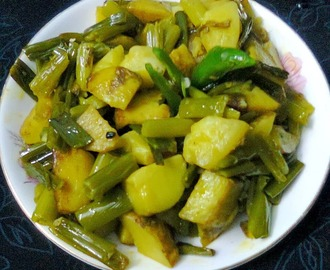 Potato–Onion Stalks Fry / Aloo–Peyajkoli Bhaja