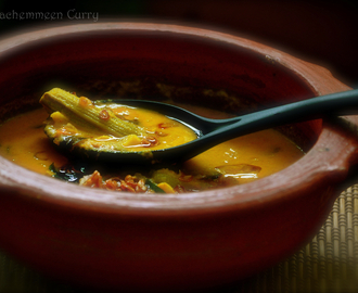 Unakkachemmeen Pachamanga-Muringakka Curry (Dry Prawns Raw mango Curry)/- Thrissur Style