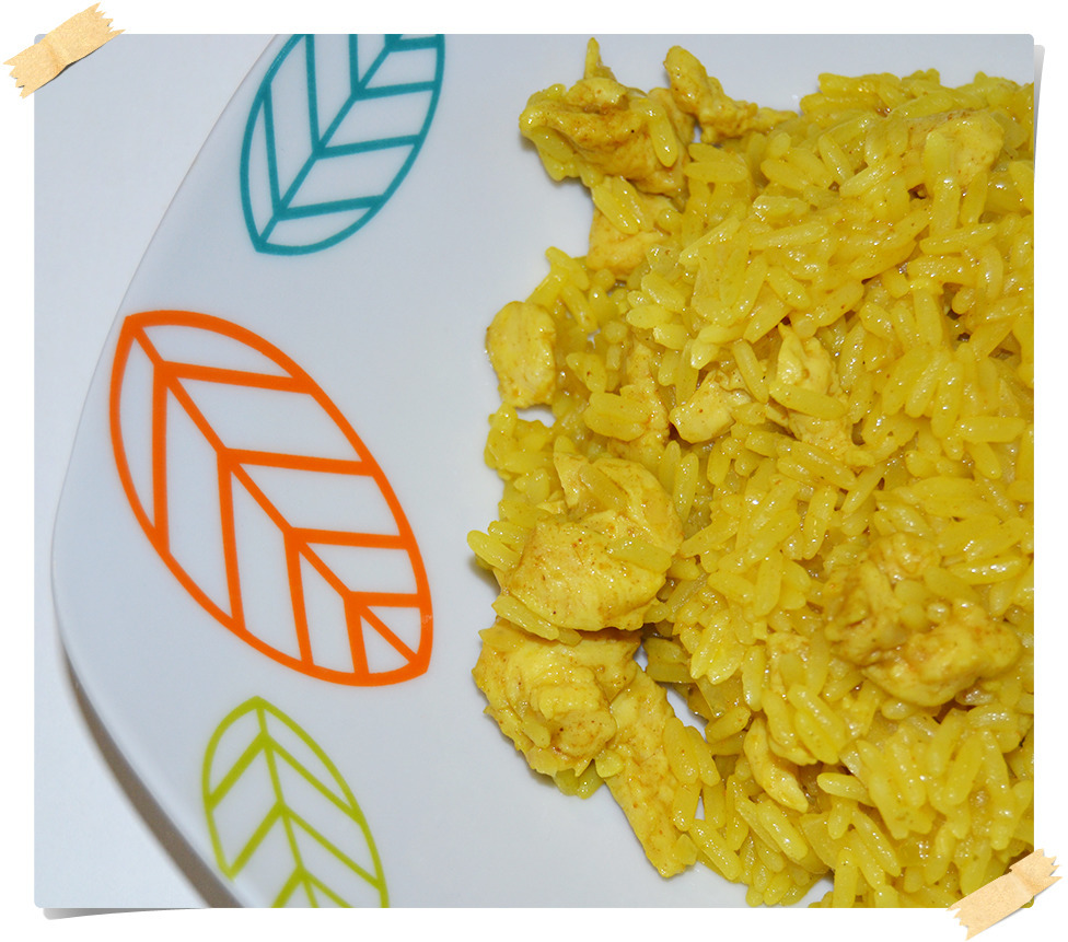 Arroz con curry y pollo