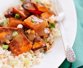 Roasted sweet potato with rice and peanut sauce