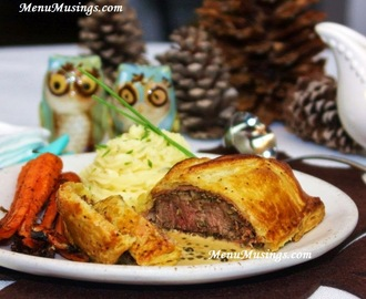 Beef Wellington with Green Peppercorn Sauce