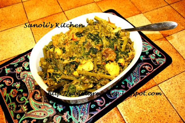 KUMRO SAAG ER CHORCHORI / PUMPKIN LEAF & VEGETABLE MISH MASH