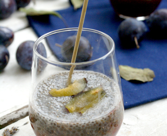 Cardamom chia pudding with plum sauce (vegan, gluten-free)