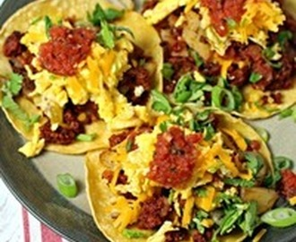 Chorizo Breakfast Tacos with Potato Hash and Eggs Recipe