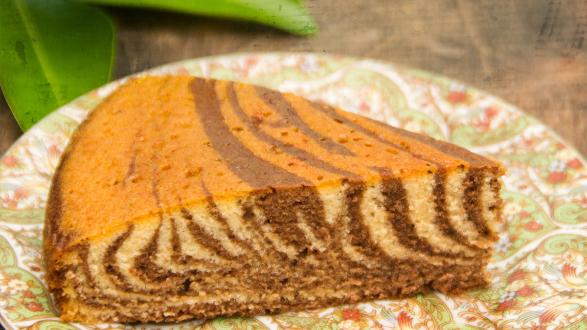 Chocolate & Orange Zebra Cake aka Tiger Cake