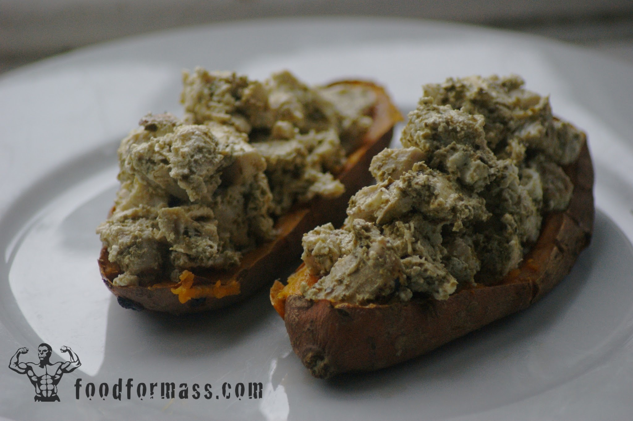 Sweet Potato Jackets Stuffed With Chicken Pesto And Quark