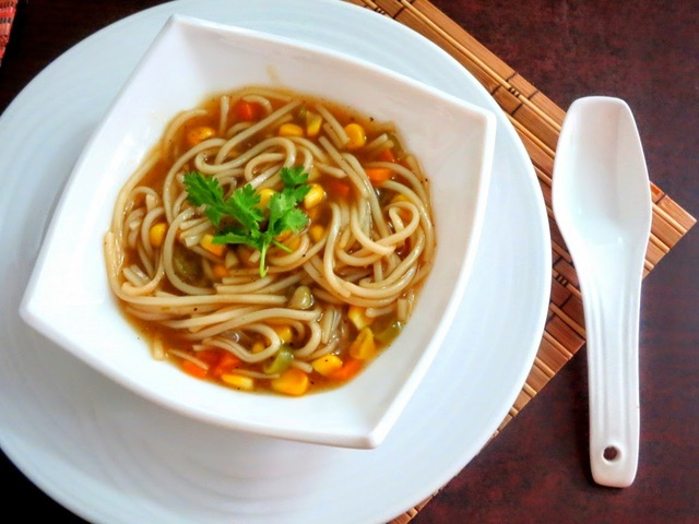 Sweet Corn Vegetable Noodle Soup