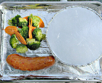 Turkey Kielbasa, Broccoli/Carrots & Perogies 💜 Recipe ReDux September Challenge - Sheet Pan Dinners