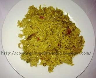 Pudhina Pulao / Mint leaves Rice