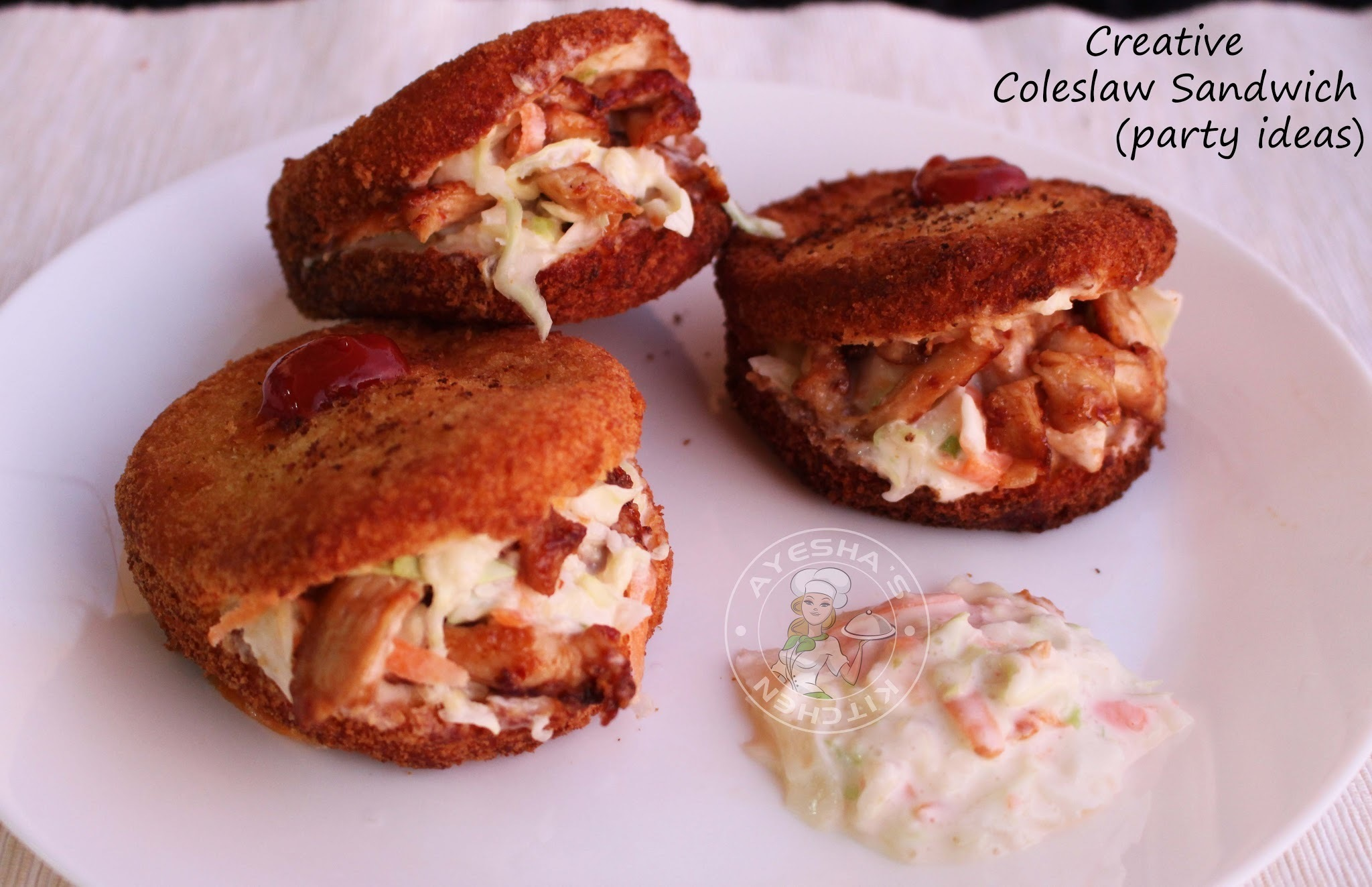 CREATIVE PARTY SNACK IDEAS - COLESLAW SANDWICH