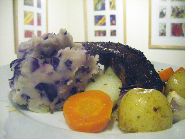 Honey Mustard Pork Belly with Roasted Veg and Red Cabbage Mash