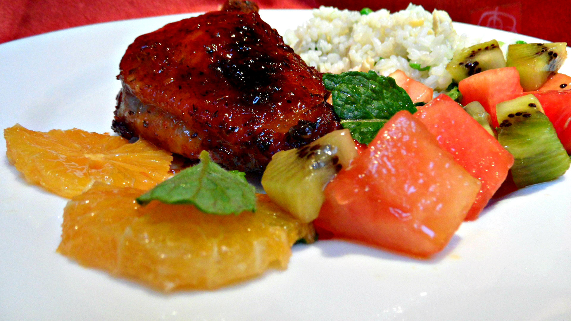 Soy sauce and chilli glazed sticky duck with fruit salsa
