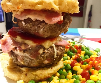 Syn Free (Double Stacked) Stuffed Cheese & Bacon Burgers in a Hash Brown Bun | Slimming World