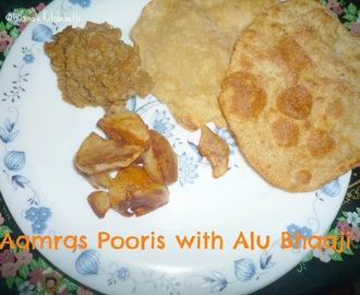 Aamras Puris with Alu Bhaaji (Fried Mango-pulp Indian bread with spiced Potato mash)