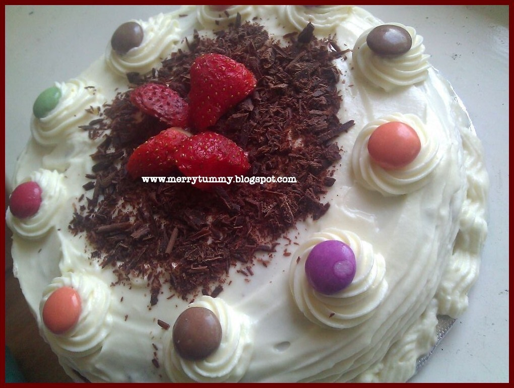 Eggless Chocolate Strawberry Cake With Fresh Cream Frosting- 50th Post