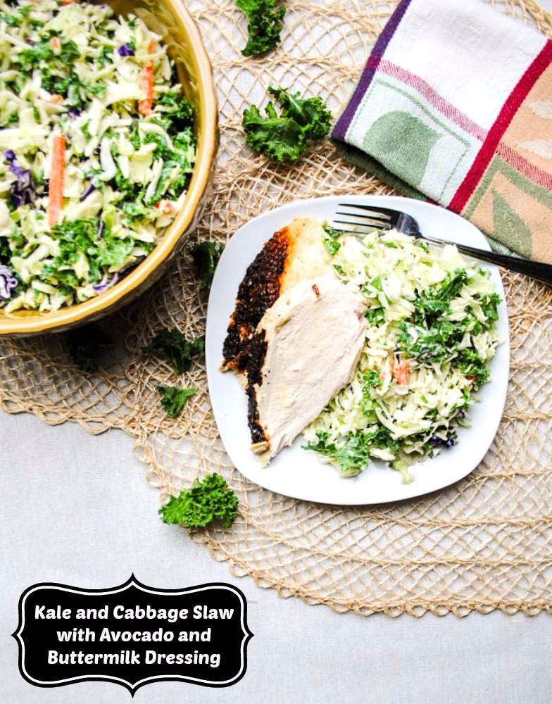 Kale and Cabbage Slaw Recipe with Avocado Buttermilk Dressing